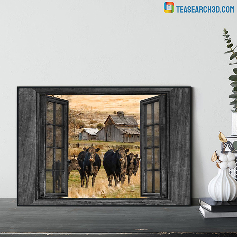 Angus cow by the window poster A1