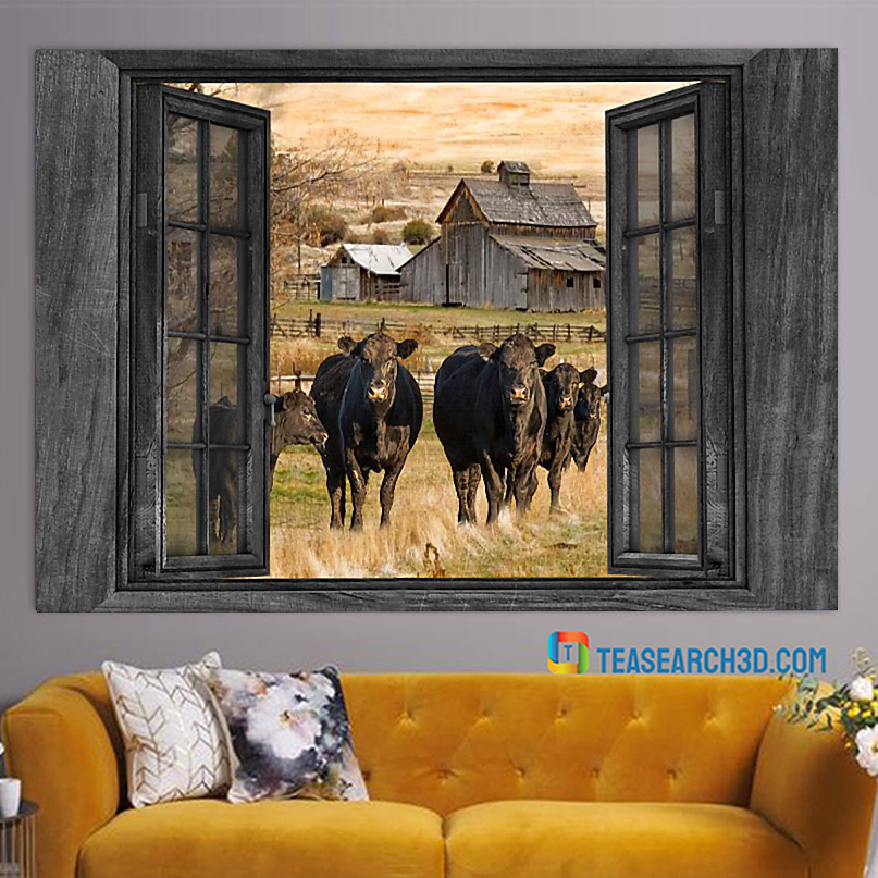 Angus cow by the window poster A2