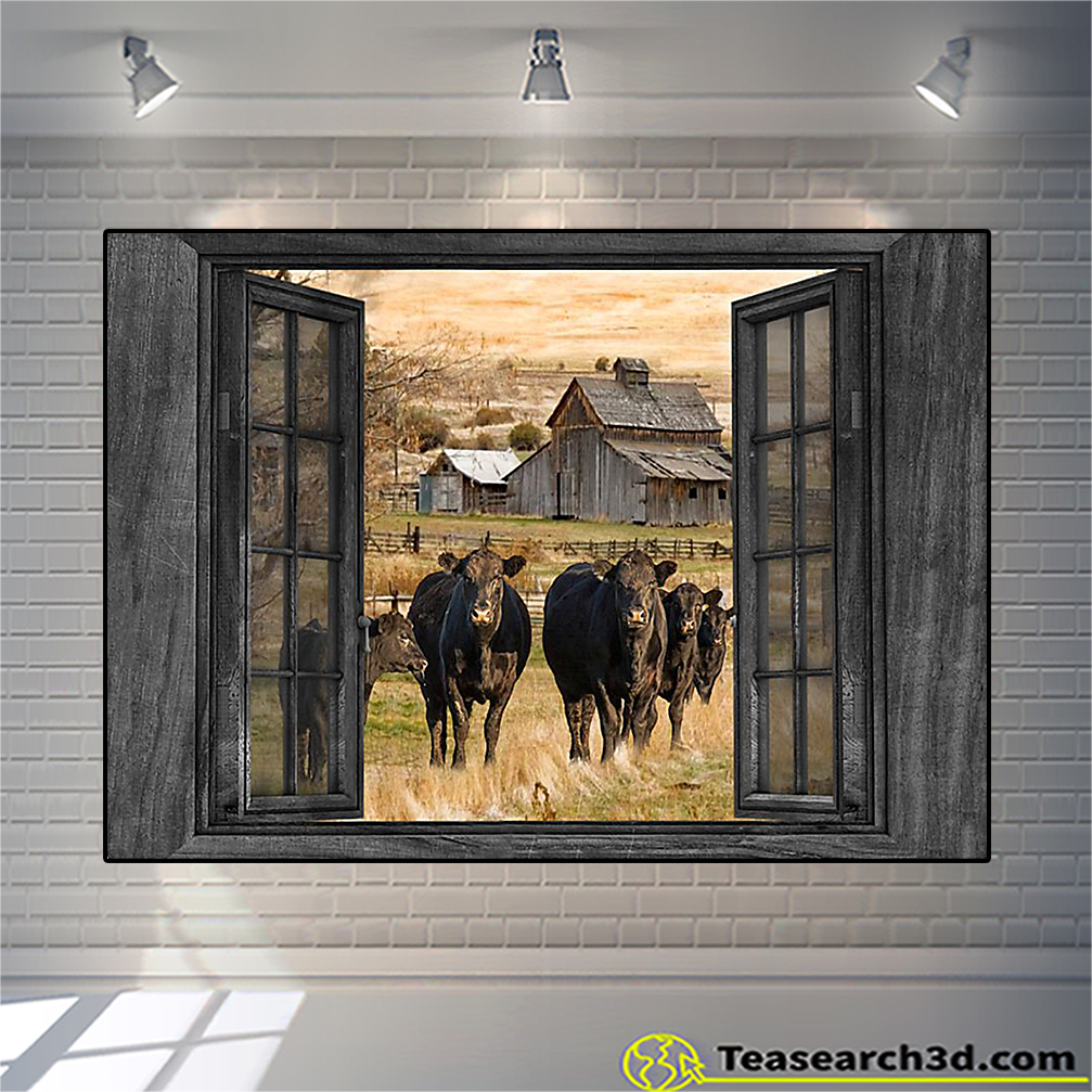 Angus cow by the window poster