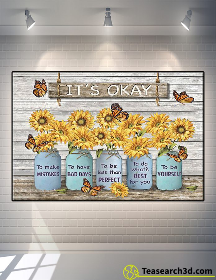 Butterfly sunflower it's okay to make mistakes canvas prints