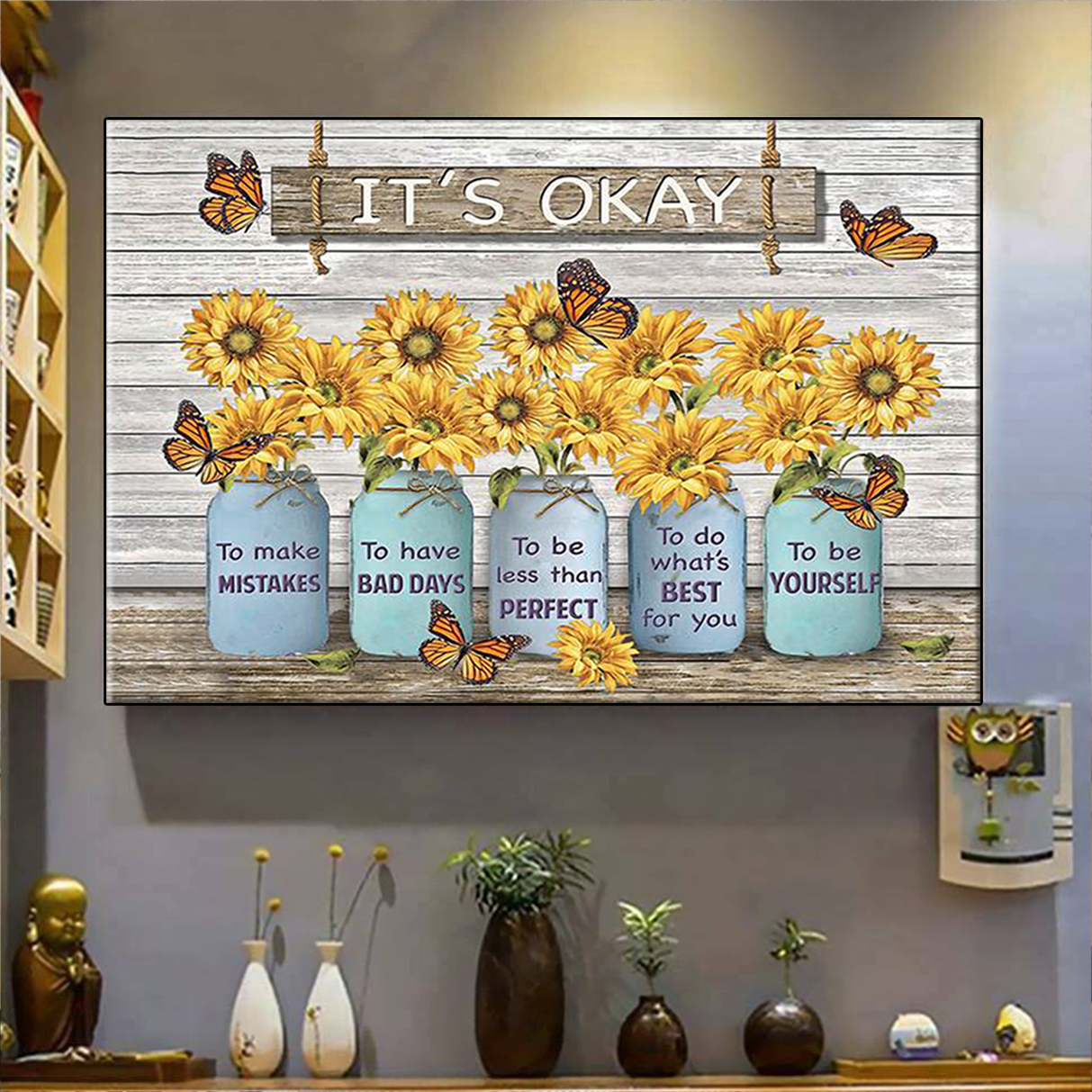 Butterfly sunflower it's okay to make mistakes canvas prints large