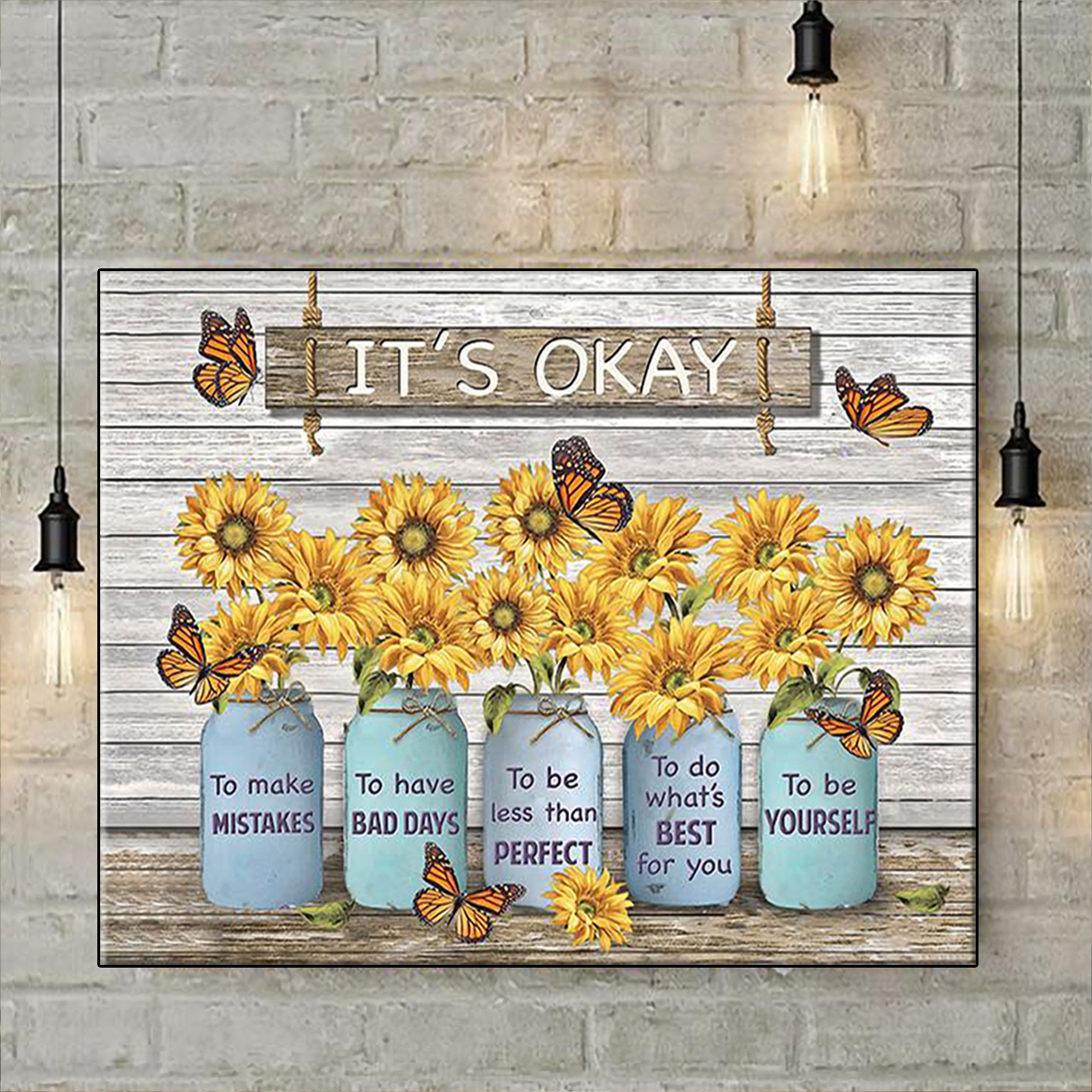 Butterfly sunflower it's okay to make mistakes canvas prints small