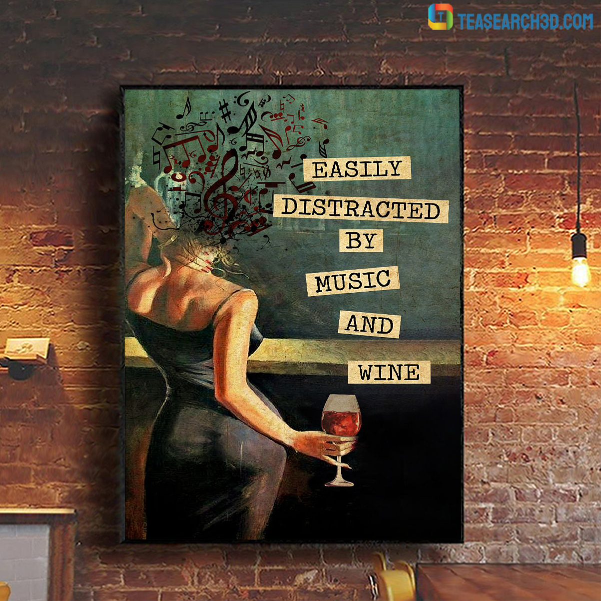 Easily distracted by music and wine vintage text poster A1