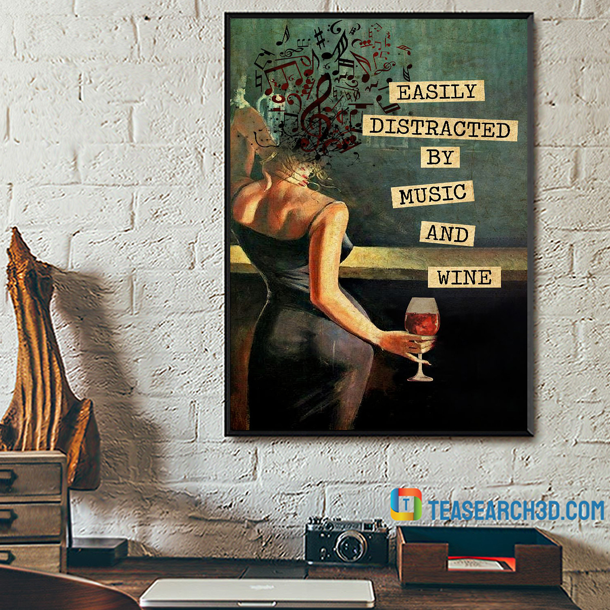 Easily distracted by music and wine vintage text poster A2