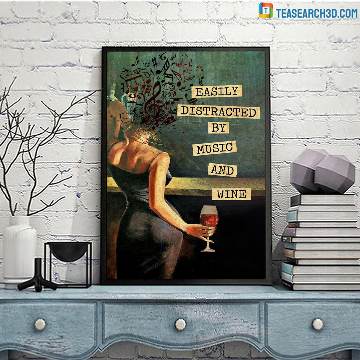 Easily distracted by music and wine vintage text poster A3