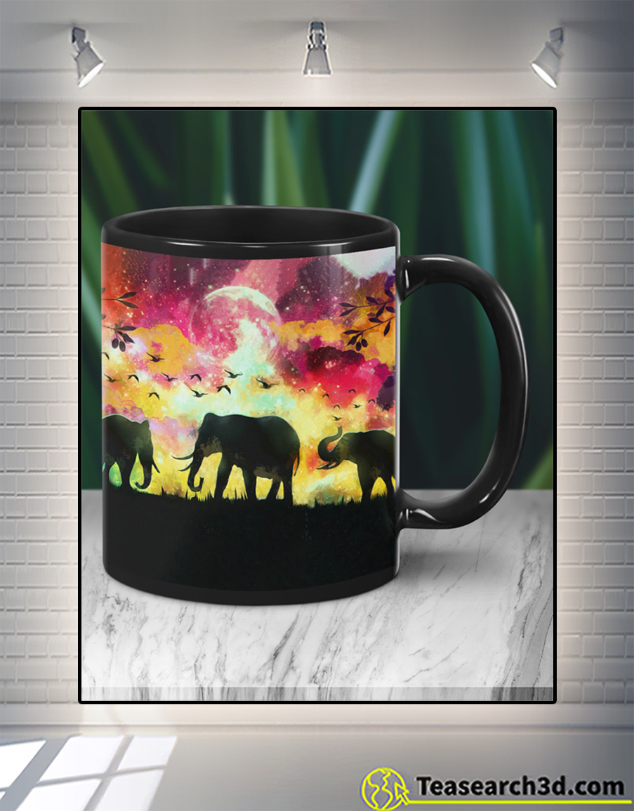 Elephants in a forest at night oil painting mug front