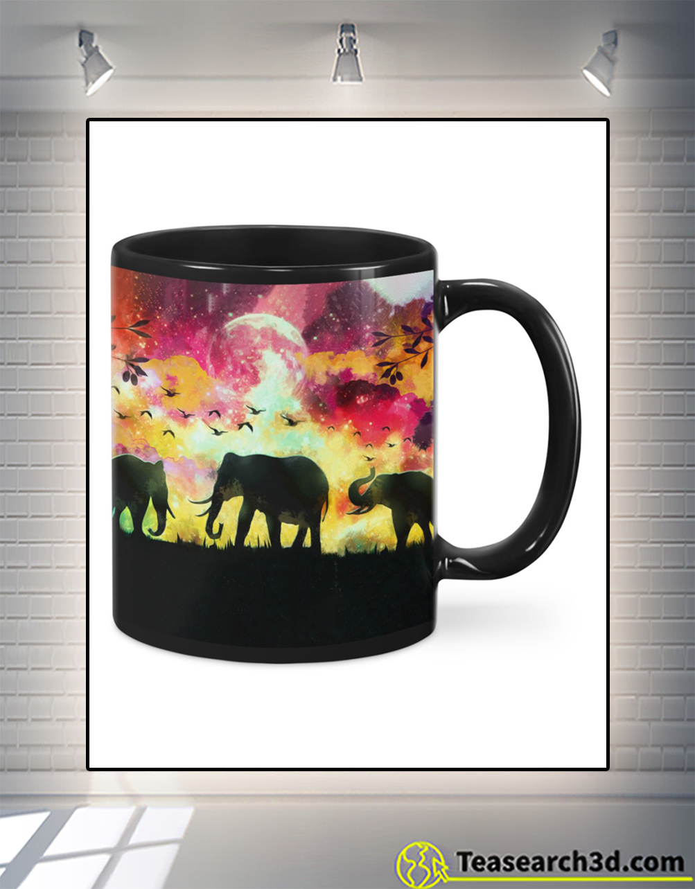 Elephants in a forest at night oil painting mug