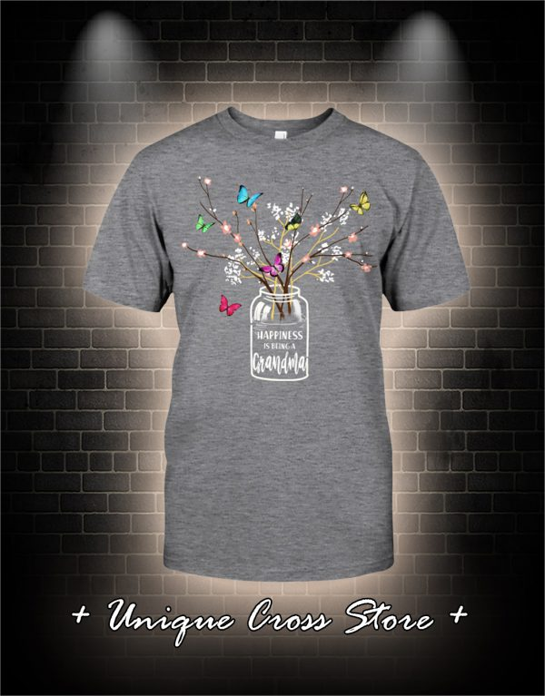 Happiness Is Being A Grandma Flower Butterfly Shirt