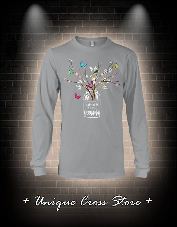 Happiness Is Being A Grandma Flower Butterfly long sleeve