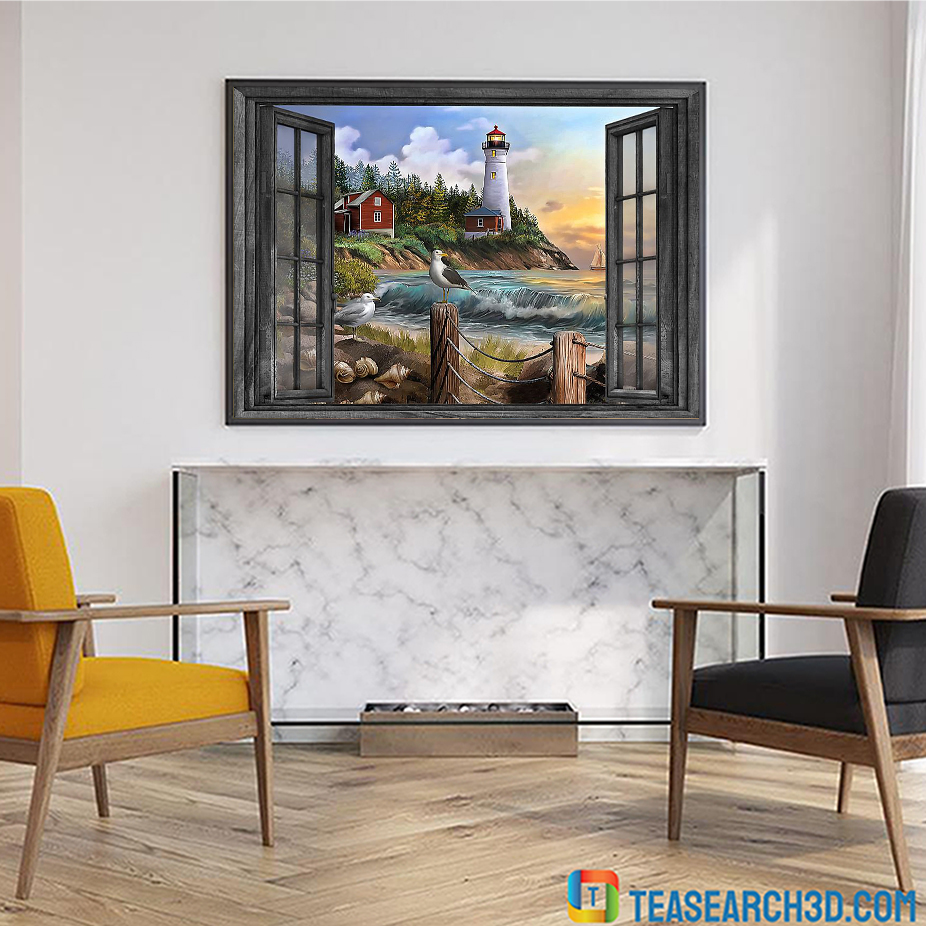 Lighthouse window view poster A2