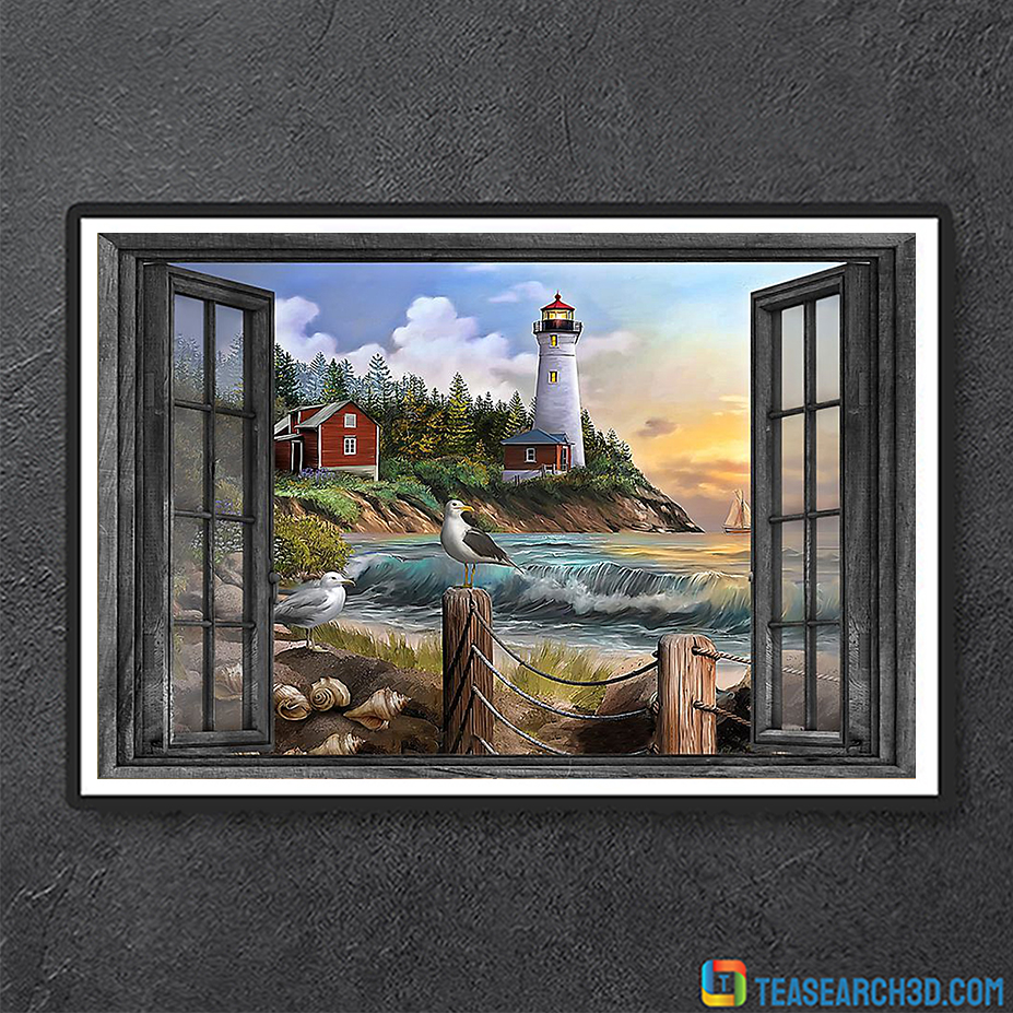 Lighthouse window view poster A3