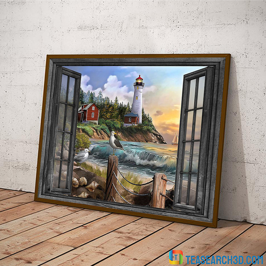 Lighthouse window view poster