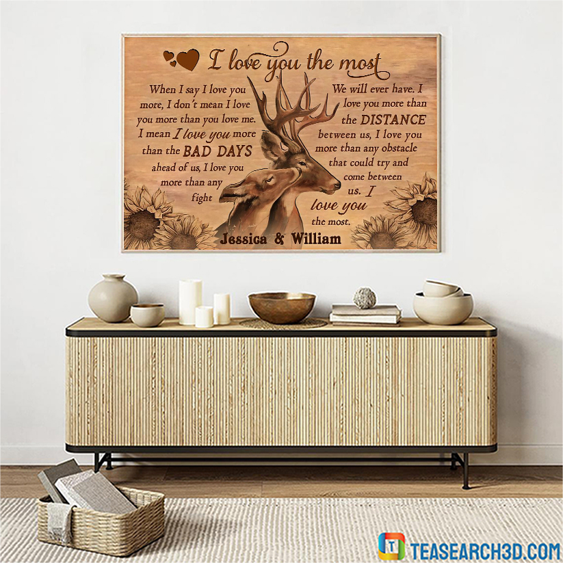 Personalized custom name deer I love you the most poster A1
