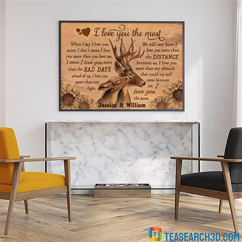Personalized custom name deer I love you the most poster A2