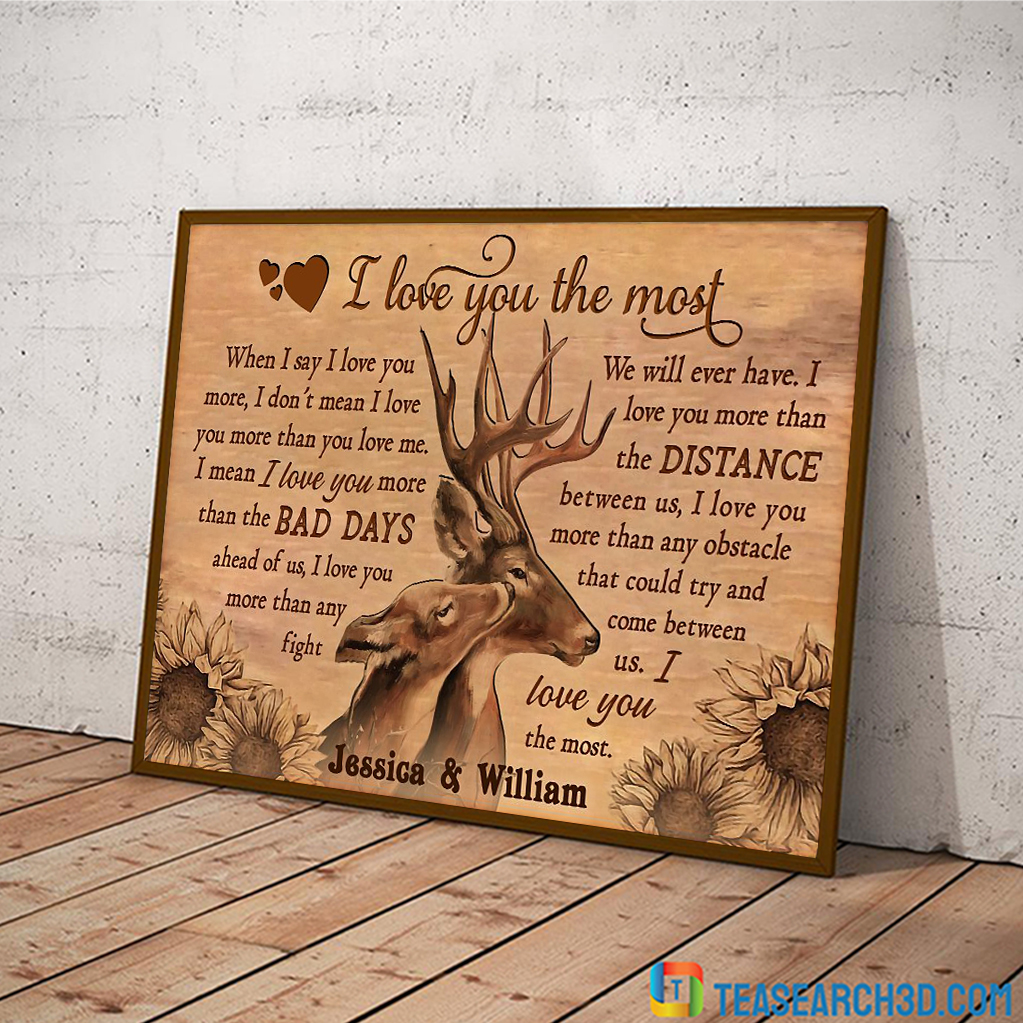 Personalized custom name deer I love you the most poster