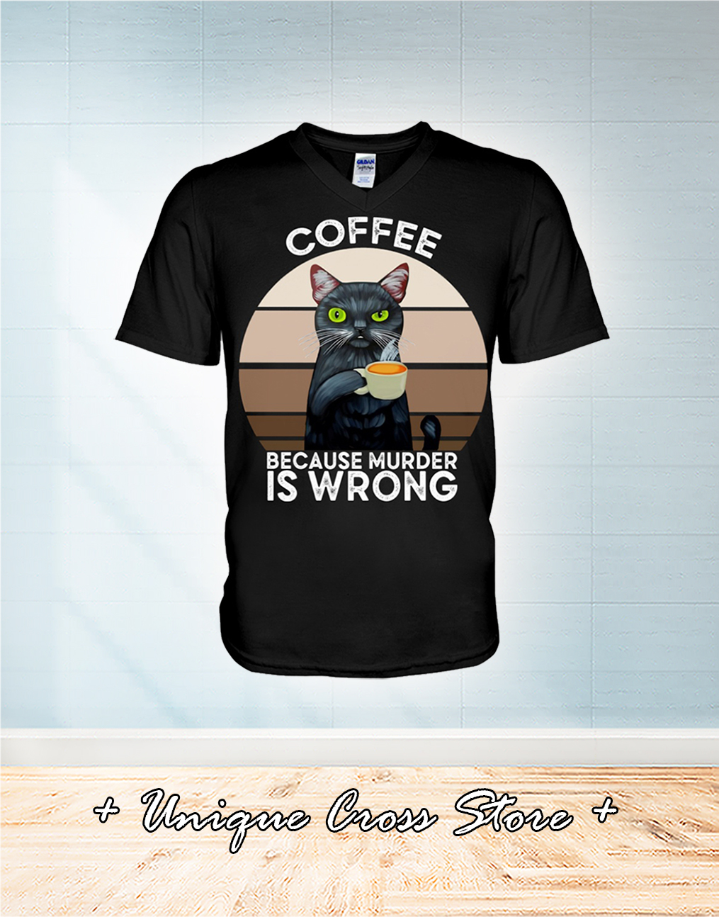 Vintage Cat Coffee Because Murder Is Wrong v-neck