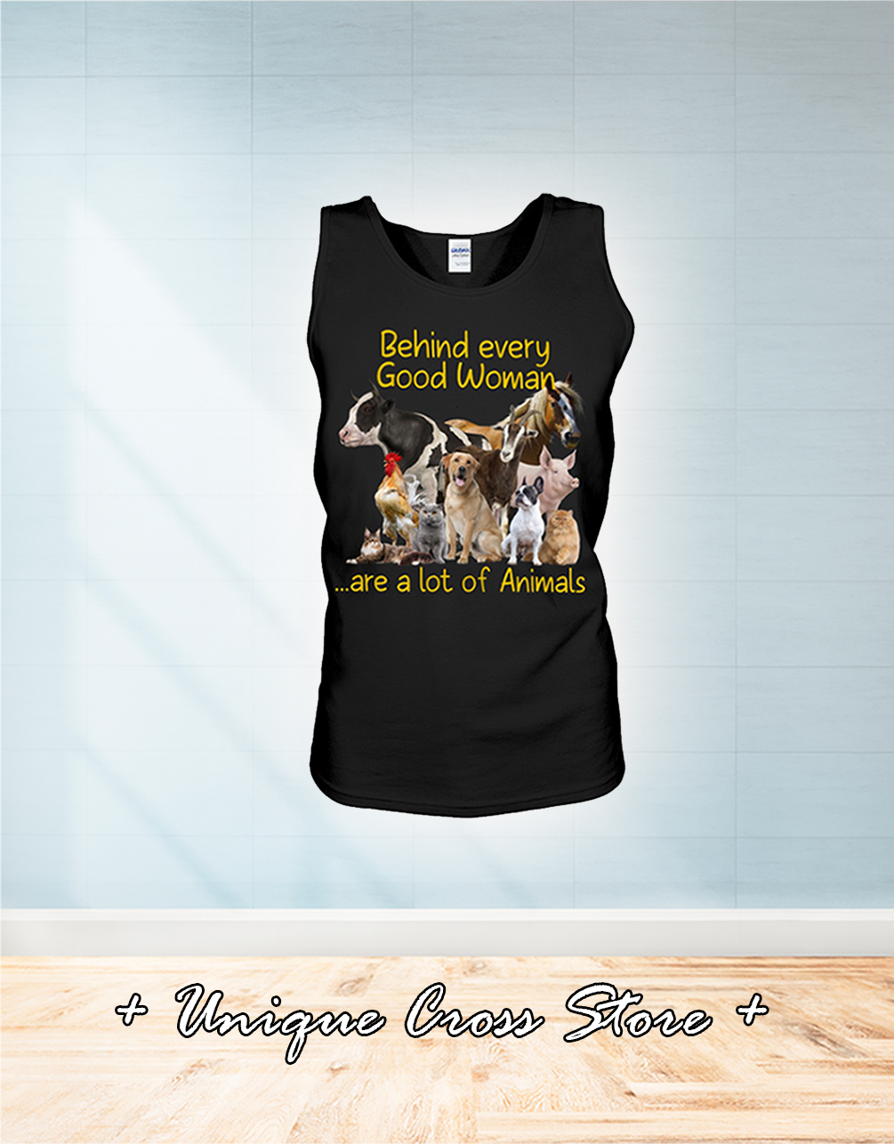 Behind every good woman are a lot of animals tank top