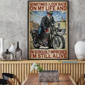 Biker sometimes I look back on my life poster A2