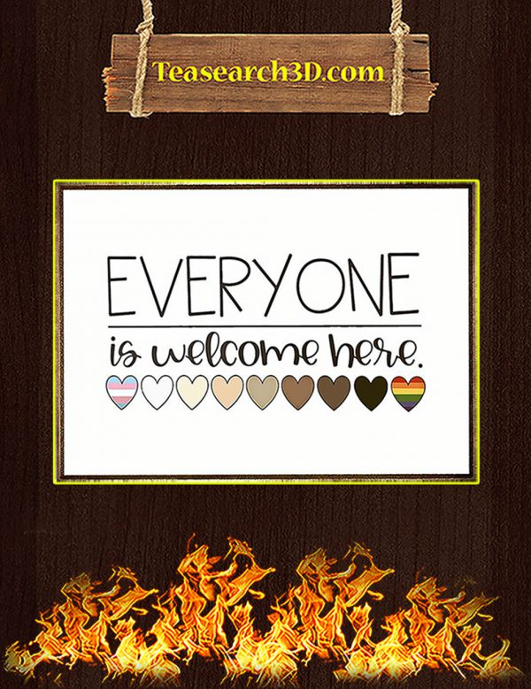 Everyone is welcome here heart poster