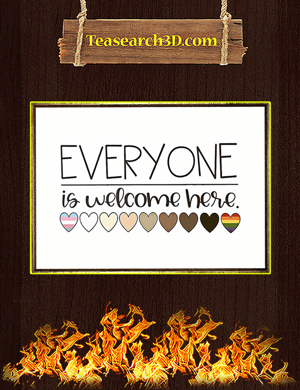 Everyone is welcome here heart poster A1