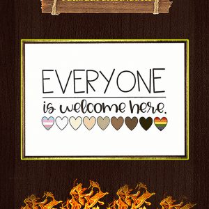 Everyone is welcome here heart poster A2