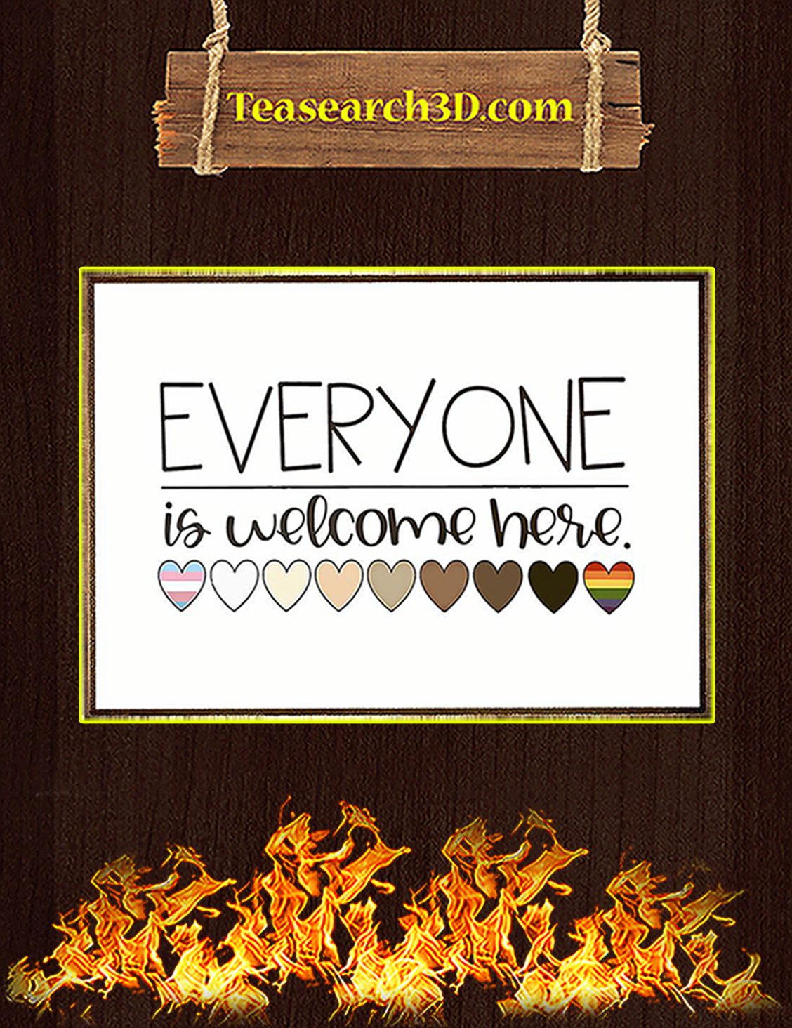 Everyone is welcome here heart poster A3