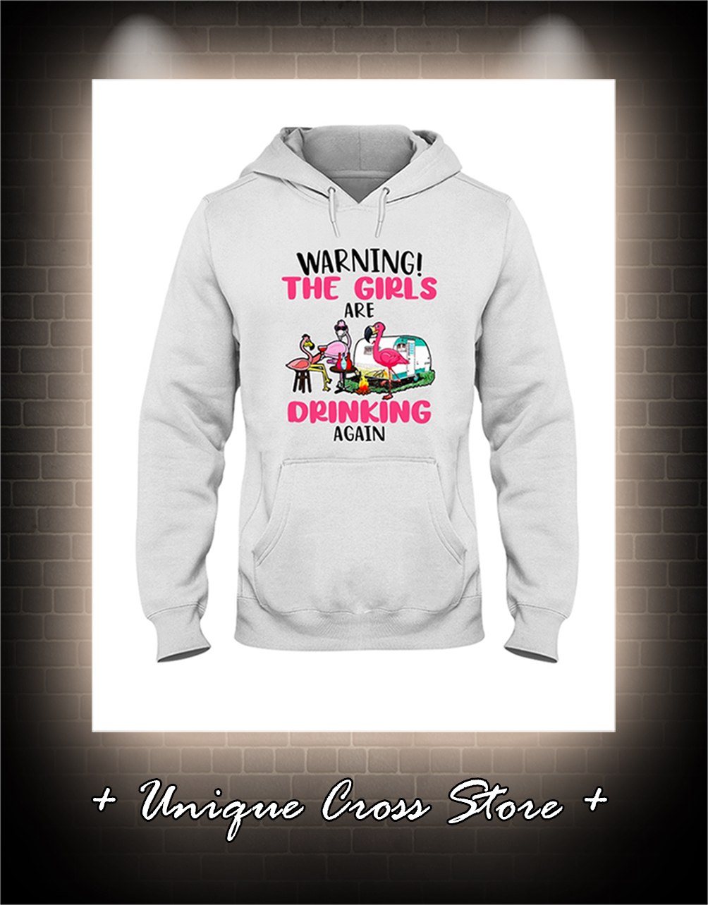 Flamingo Warning the girl are drinking again hoodie