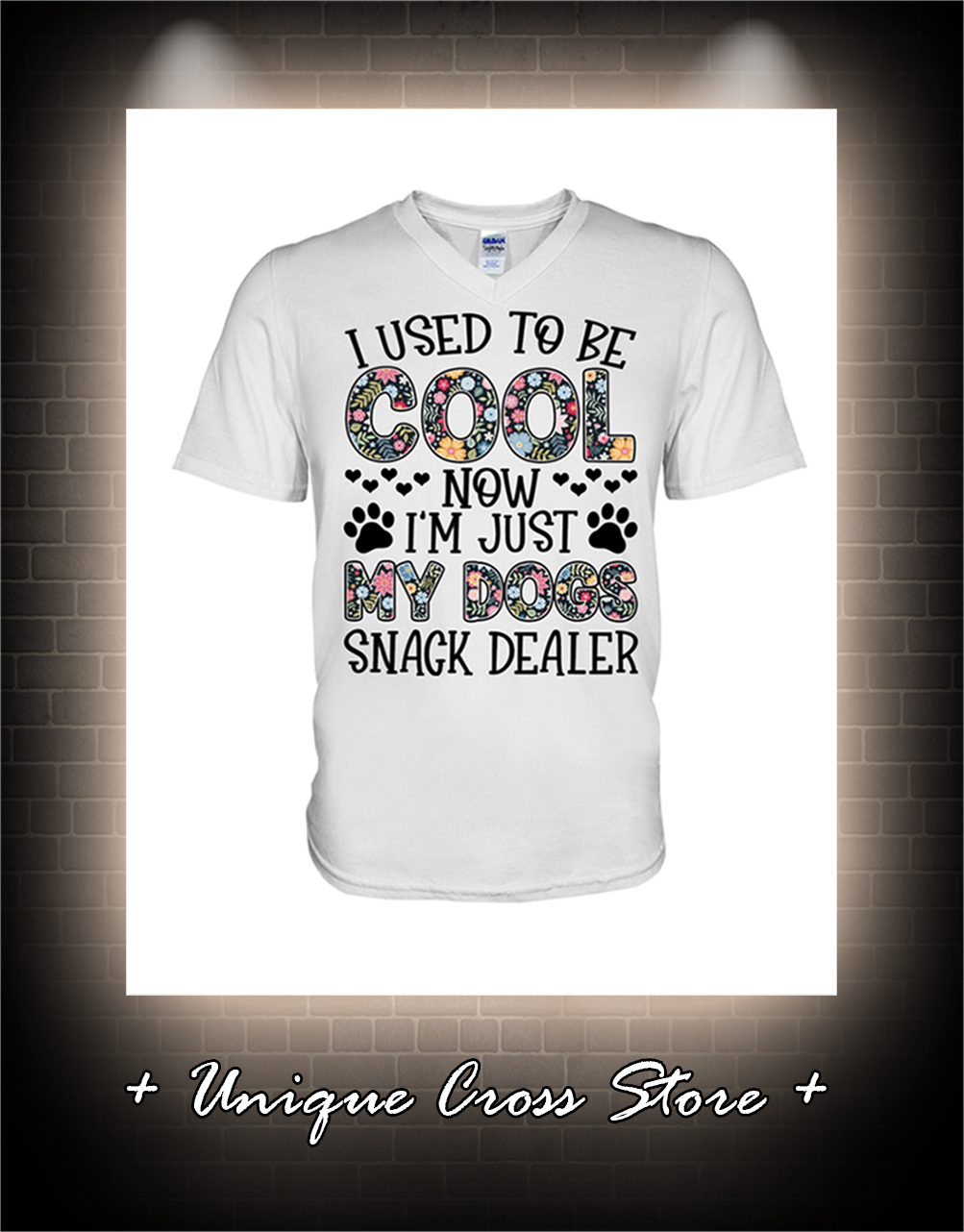 Floral I used to be cool now i'm just my dogs snack dealer v-neck