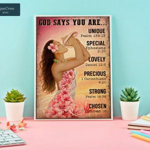 Girl flower on the beach god says you are poster A1