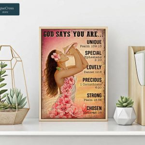 Girl flower on the beach god says you are poster A3