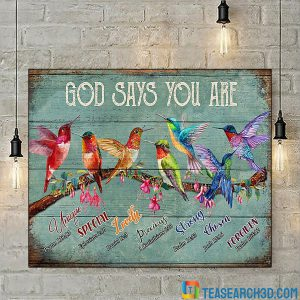 Hummingbirds God Says You Are Poster A1