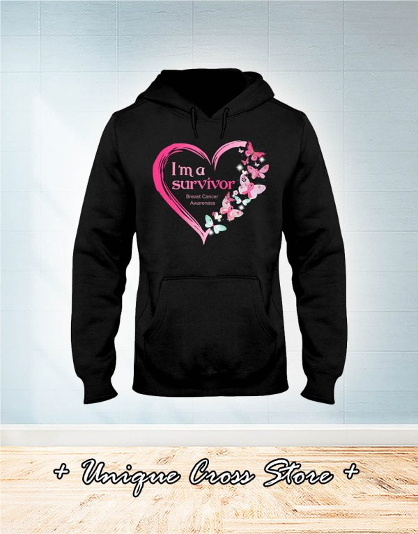 I'm A Survivor Breast Cancer Awareness Butterfly Heart hoodie