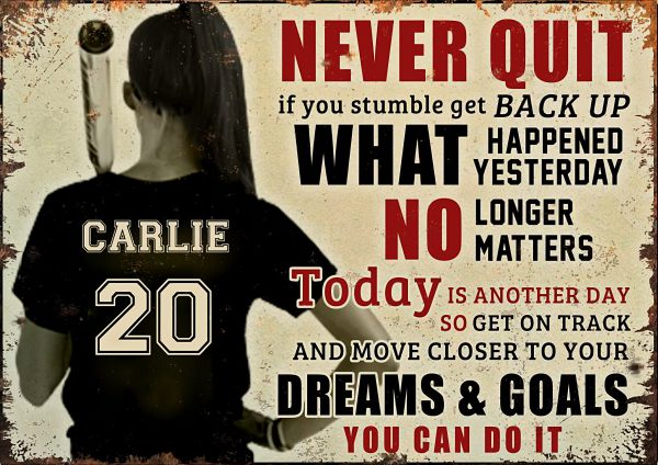 Personalized Baseball girl never quit if you stumble get back up poster