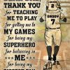 Personalized baseball dad and son thank you customized poster