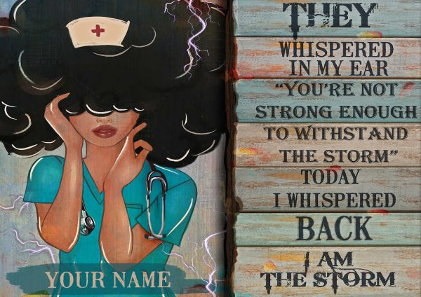 Personalized custom name black nurse they whispered in my ear canvas