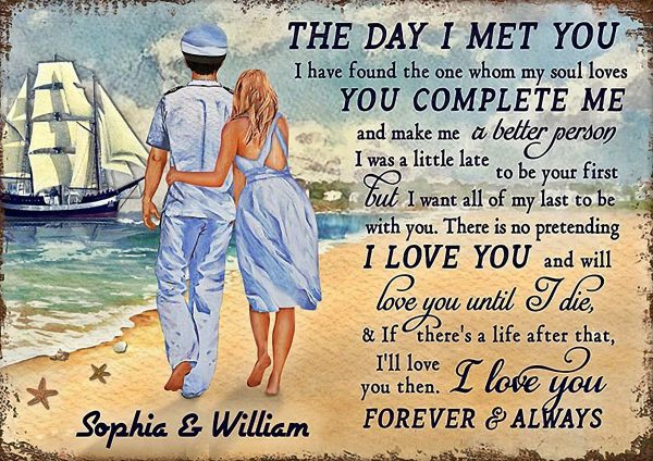 Personalized custom name captain couple the day I met you poster