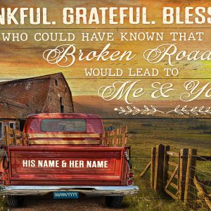 Personalized custom name farmhouse thankful grateful blessed canvas