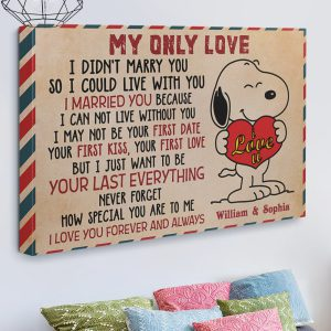 Personalized custom name snoopy my only love canvas prints 1