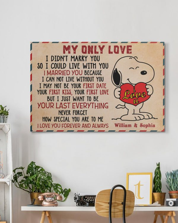 Personalized custom name snoopy my only love canvas prints 2