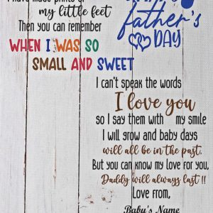 Personalized footprint art happyy father's day baby hi daddy canvas