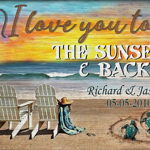 Personalized sea turtle I love you to the sunset and back poster