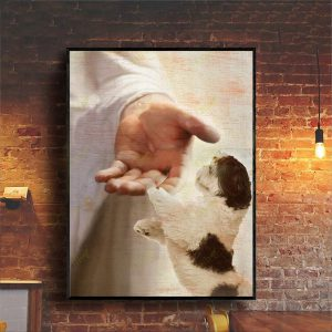 Shih Tzu take my hand canvas prints and poster A3
