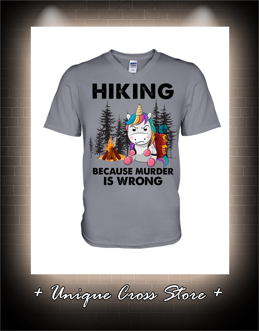Unicorn Hiking because murder is wrong v-neck