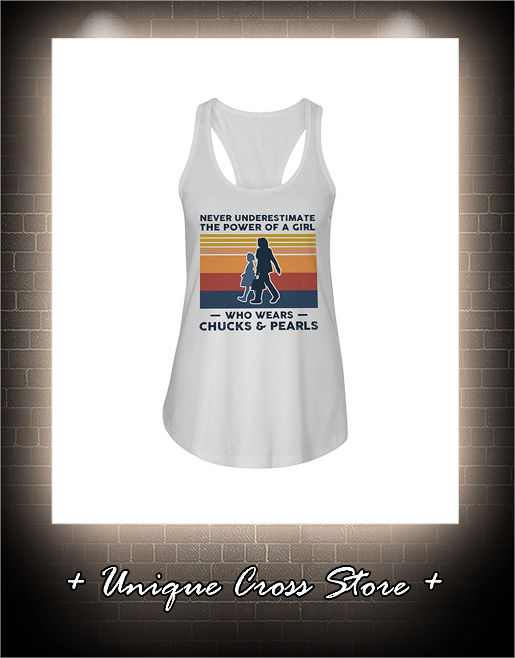 Vintage Never Underestimate The Power Of A Girl Who Wears Chucks And Pearls flow tank