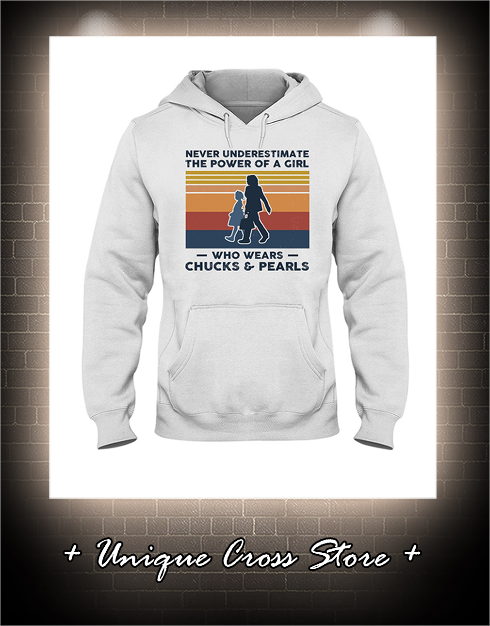 Vintage Never Underestimate The Power Of A Girl Who Wears Chucks And Pearls hoodie