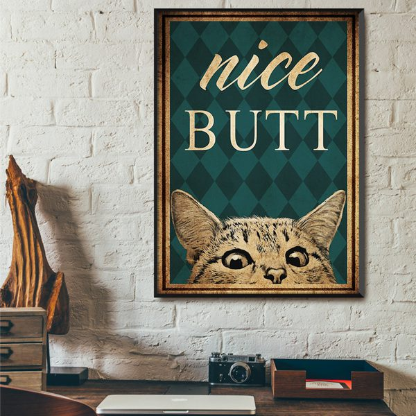 Vintage cat nice butt poster A2