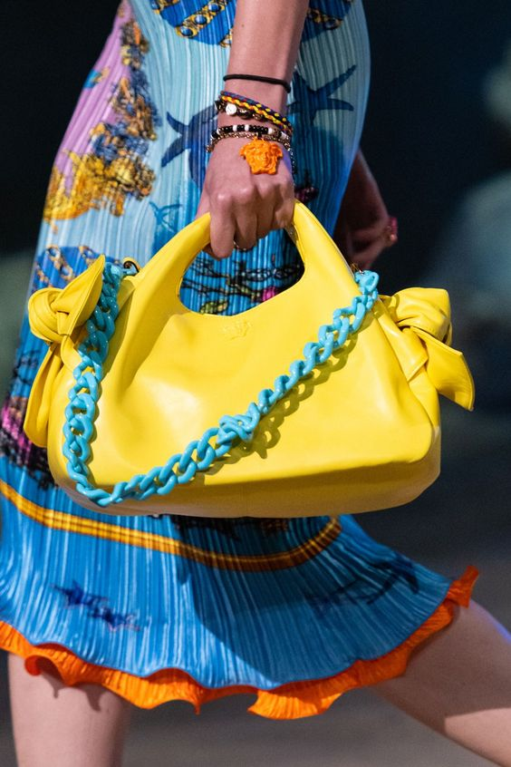 Colorful layered resin bracelets from Versace