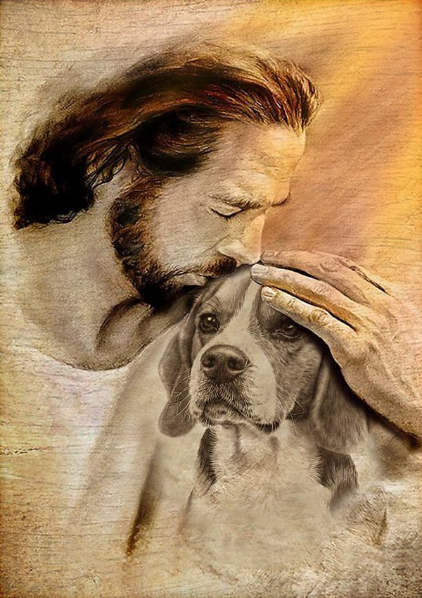 Personalized custom name jesus with lovely Beagle personal poster