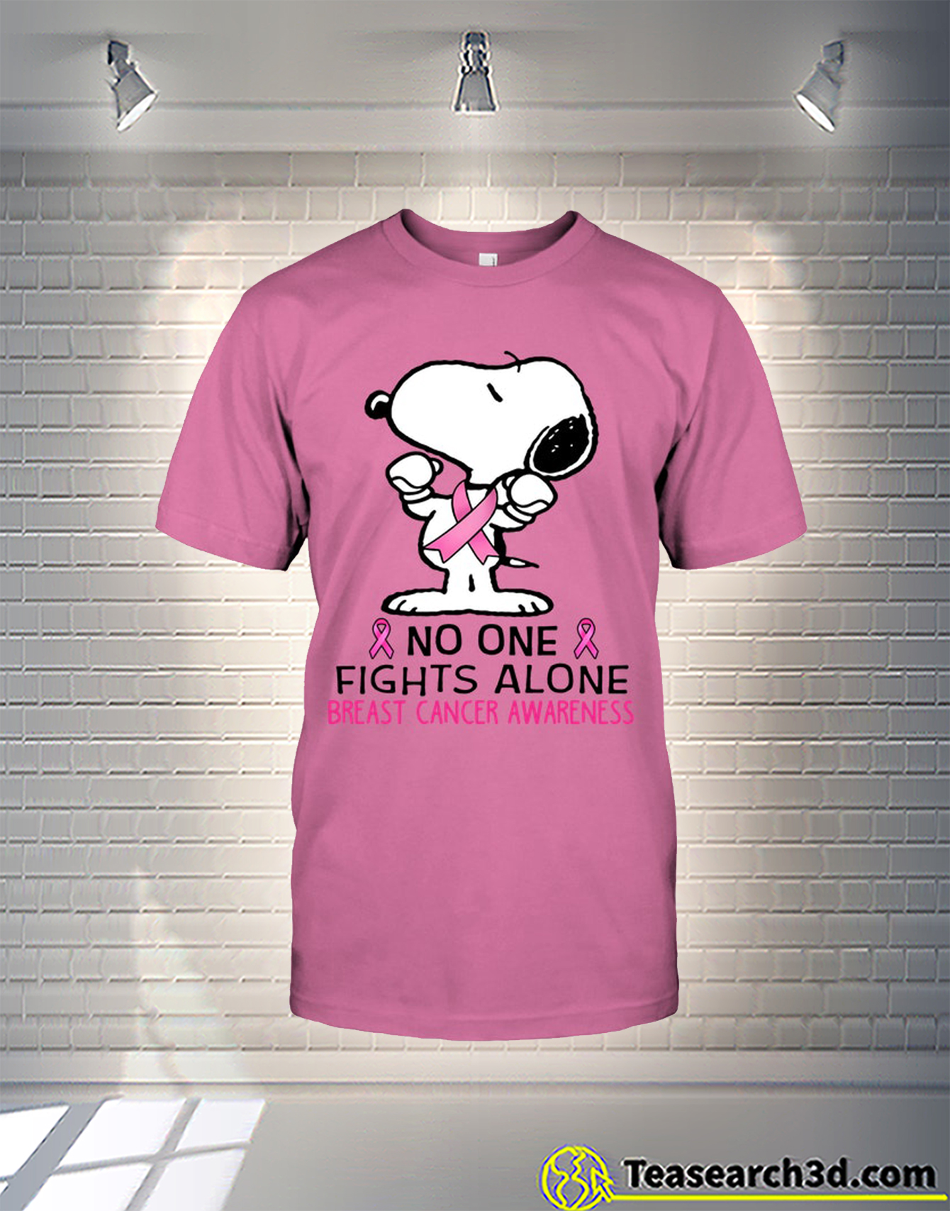 Snoopy no one fights alone breast cancer awareness t-shirt