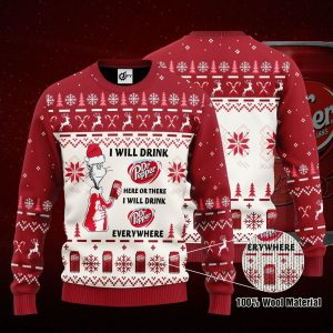 Dr seuss I will drink Dr Pepper here or there ugly sweaterDr seuss I will drink Dr Pepper here or there ugly sweater